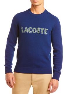 Lacoste Croc Appliqué Logo Wool Blend Crewneck Sweater