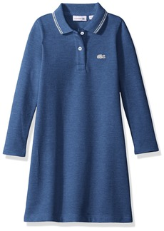 Lacoste Girls' Big Girls' Long Sleeve A-Line Polo Dress with Tipping Detail  A