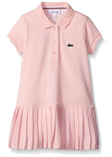 Lacoste Girls' Big Girls' Short Sleeve Pique Polo Dress with Pleated Bottom  A
