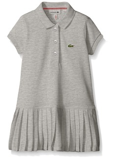 Lacoste Girls' Little Girls' Short Sleeve Pique Polo Dress with Pleated Bottom  A
