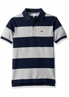 Lacoste Little Boy Short Sleeve Bicolor Striped Pique Polo Navy Blue/PLUVIER Chine