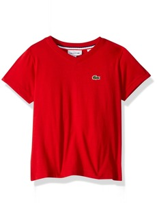 Lacoste Little Boy Short Sleeve Solid V-Neck Tee Shirt red