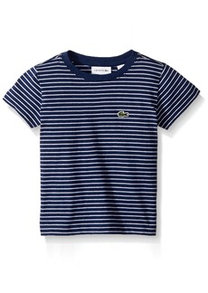 Lacoste Little Boy Short Sleeve Striped Tee Shirt MATELOT Chine/White