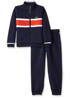 Lacoste Little Boys' Fleece Track Suit With Chest Stripe-Shirt