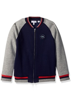Lacoste Little Boys' Full Zip Varsity Fleece Hoody penumbra/Aluminium Grey Chine
