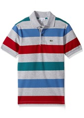 Lacoste Boys' Short Sleeve Small Multi Stripe Pj8911 New Forest/Silver Chine-Ladybird-Wave Blue