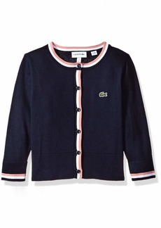 Lacoste Little Girl Cotton Wool Multico Stripes Cardigan Navy Blue/White/MELITTE