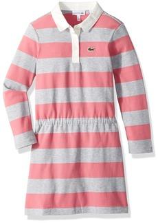 Lacoste Girls' Little Long Sleeve Stripe Polo Dress