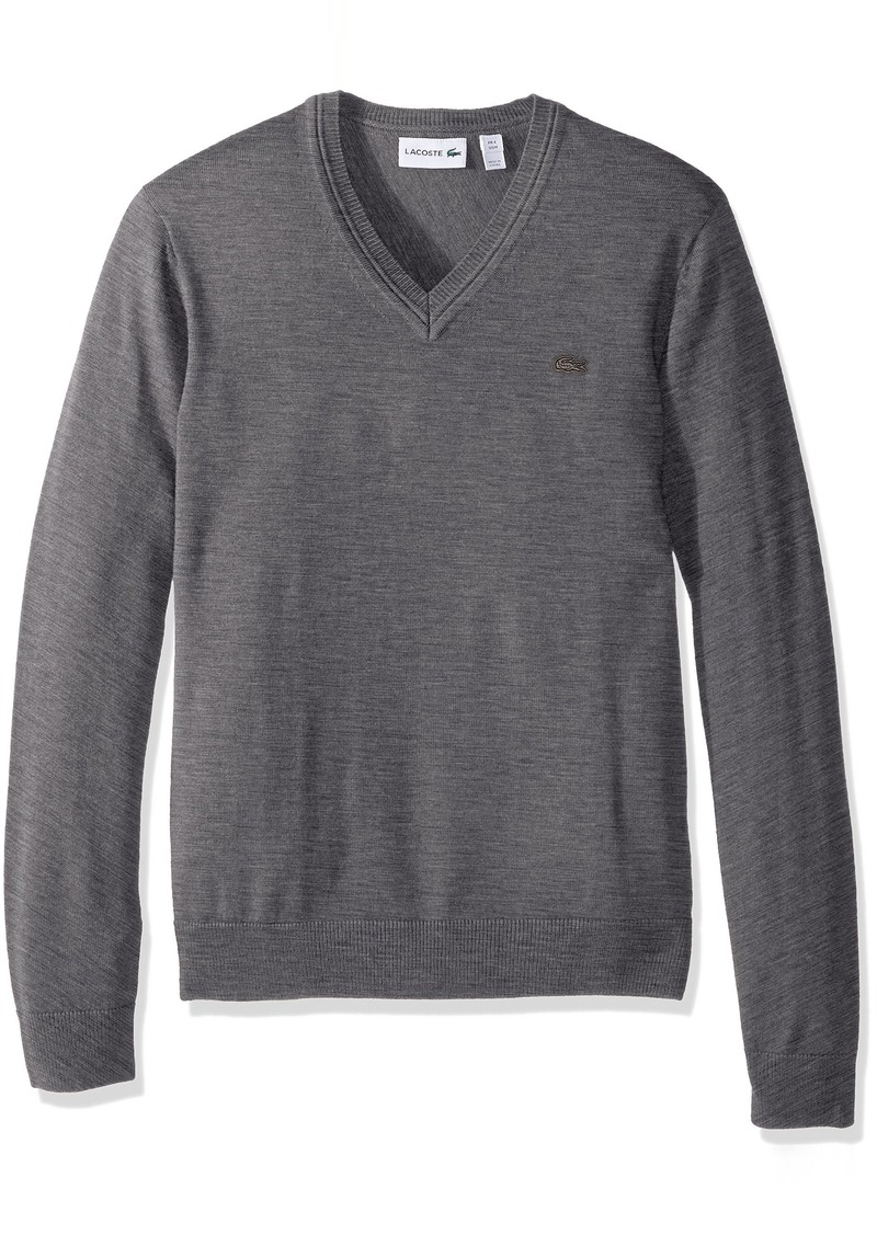 c149a9617 Lacoste Lacoste Men s 100% Lambswool V Neck Sweater with Tonal Croc ...