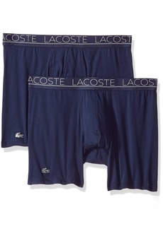Lacoste Men's Cotton Stretch Boxer Brief Underwear Multipack Band Navy-2 Pack