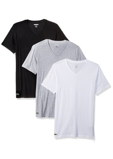 Lacoste Men's 3PK Supima Cotton Slim Fit Vneck Tee  L