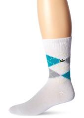 Lacoste Men's Argyle Sock White/Silver Chine-Bermuda 08H-Sulphur Pit Sock Size: 6-12/Shoe Size:9-11