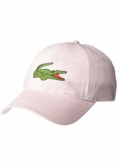Lacoste Men's Big Croc Twill Adjustable Leather Strap Hat  ONE