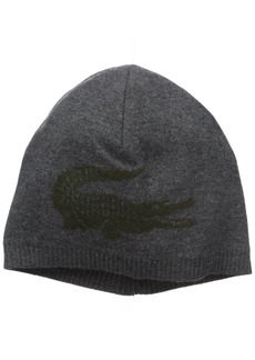 Lacoste Men's Big Crocodile Jacquard Reversible Wool Beanie