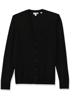 Lacoste Men's Classic 100% Lambswool Cardigan Sweater with Tonal Croc