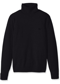 Lacoste Men's Classic 100% Lambswool Turtle Neck Sweater with Tonal Croc