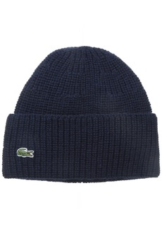 Lacoste Men's Classic Pure Wool Cardigan Rib Knit Cap