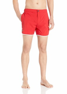 Lacoste Men's Classic Solid Quick Dry Fabric Integrated Boxer Short Length red/White