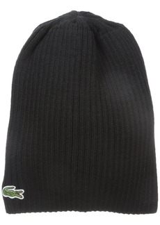 Lacoste Men's Classic Wool Ribbed Knit Beanie