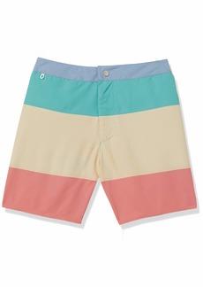 Lacoste Men's Color Block Button Waist Swim Trunks  XL