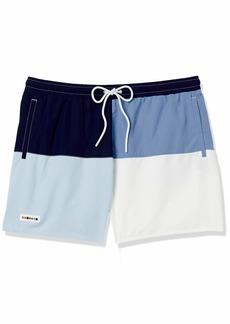Lacoste Men's Color Block Elastic Waist Swim Trunks Navy Blue/Purpy-RILL-Flour L