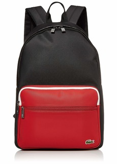 Lacoste Men's Colorblock Croc Taping Backpack black Tango Red White