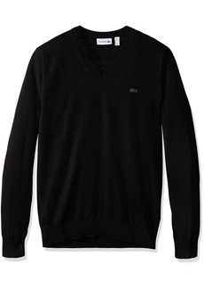 Lacoste Men's Cotton Jersey V Neck Sweater with Pique Stitch Details AH7894  4X-Large