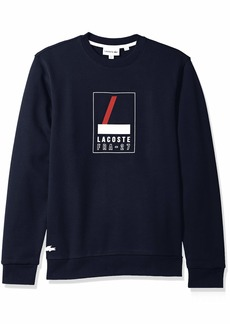 Lacoste Men's Crew Neck Print Fleece Sweatshirt