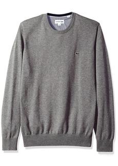 Lacoste Men's Crewneck Cotton Jersey Sweater With Green Croc  L