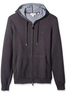 Lacoste Men's Doubleface Cotton and Poly Hoddie Full Zip Sweatshirt