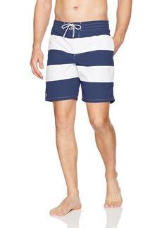 Lacoste Men's Elastic Waist Bold Stripe Swim Trunk MH2742-51