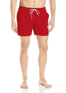 Lacoste Men's Elastic Waist Gingham Swim Trunk MH2740-51