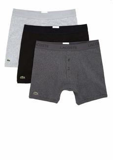 Lacoste Men's Essentials Classic 3 Pack 100% Cotton Boxer Briefs  M