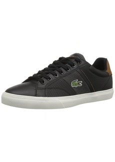 Lacoste Men's Fairlead Sneaker Black tan Leather  Medium US
