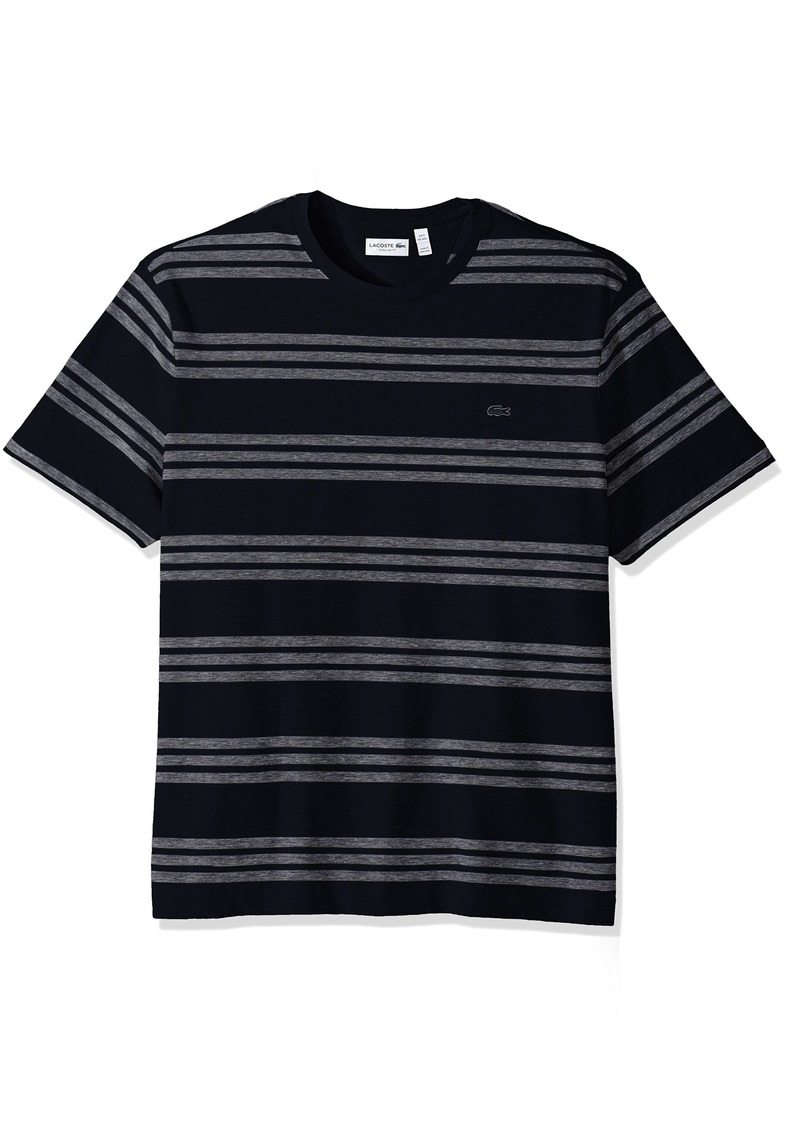 295b85a74991c Lacoste Men s Father s Day Cotton Linen Birds Eye Pique Stripe T-Shirt ...