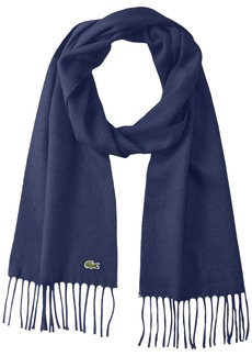 Lacoste Men's Flannel Wool Cashmere Scarf navy blue