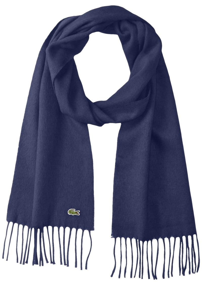 Lacoste Men's Flannel Wool Cashmere Scarf navy blue