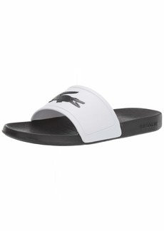 Lacoste Men's Fraisier Slides Sandal Black/White  Medium US