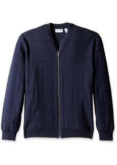 Lacoste Men's Full Zip Windowpane Stitch Sweater AH3042-51