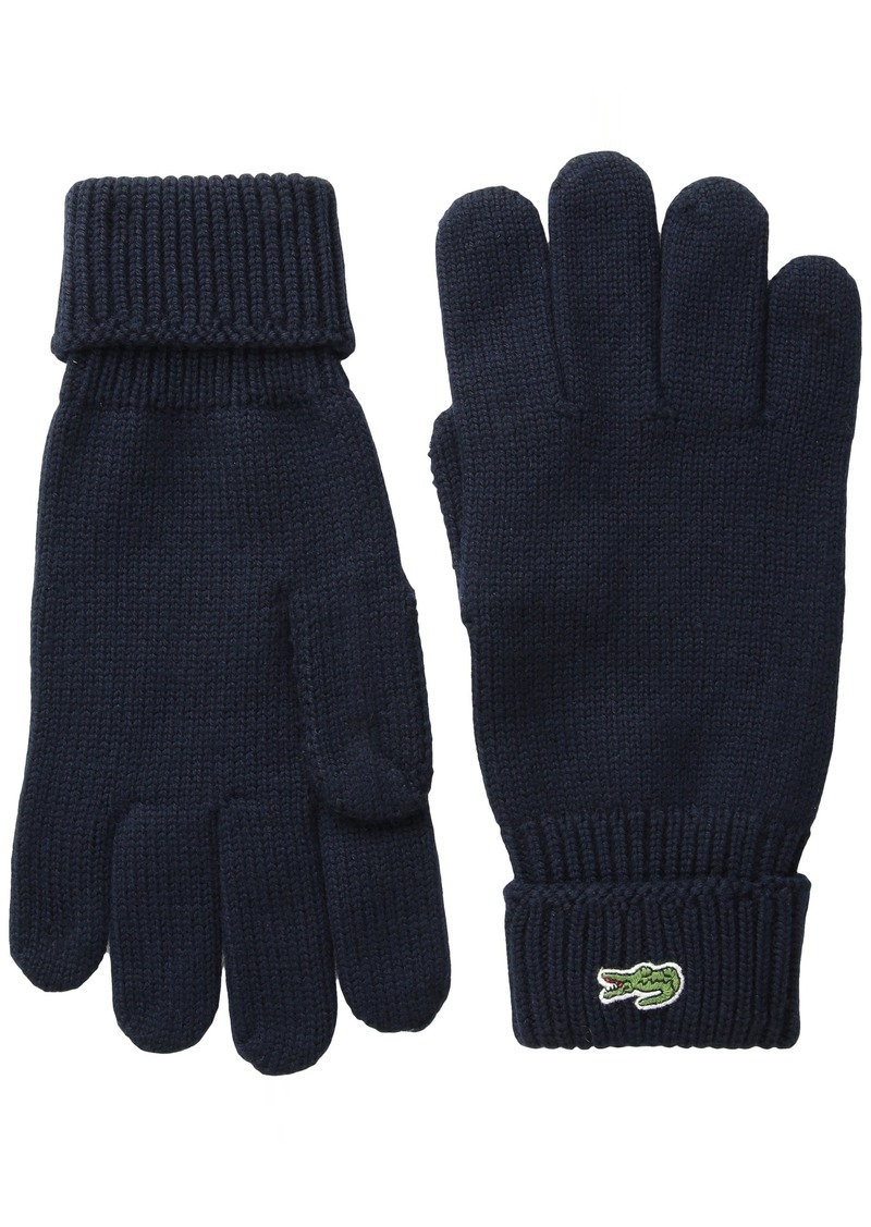 Lacoste Men's Green Croc Wool Gloves  M