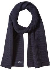 Lacoste Men's Heavy Knit Wool Scarf with Tonal Croc  TU