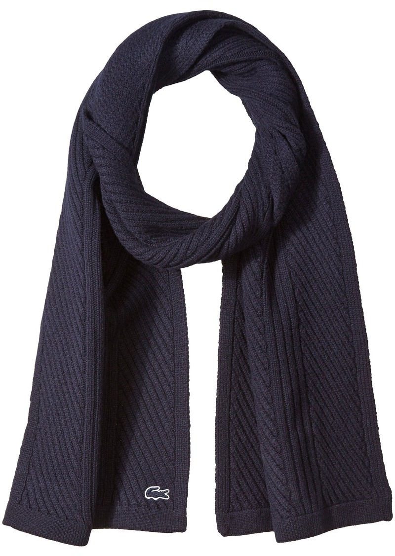Lacoste Men's Heavy Knit Wool Scarf with Tonal Croc  TU