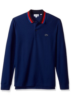 Lacoste Men's Holiday Long Sleeve Slubbed Pique Polo-Regular Fit methylene/Multico XXL