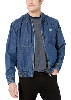 Lacoste Men's Hooded Jacket Washed Cotton Denim deep