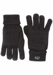 Lacoste Men's Jersey Rib Wool Gloves mocha chine S