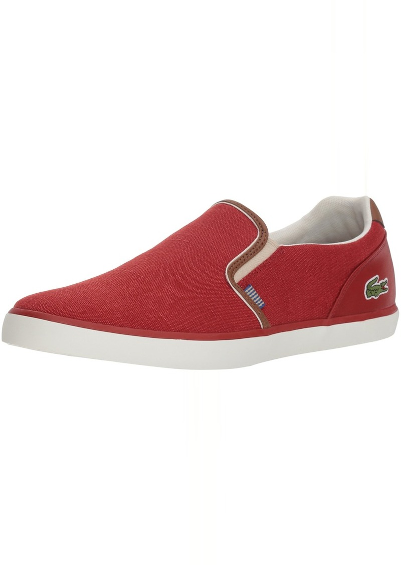 Lacoste Men's Jouer Slip Sneaker red tan Canvas  Medium US