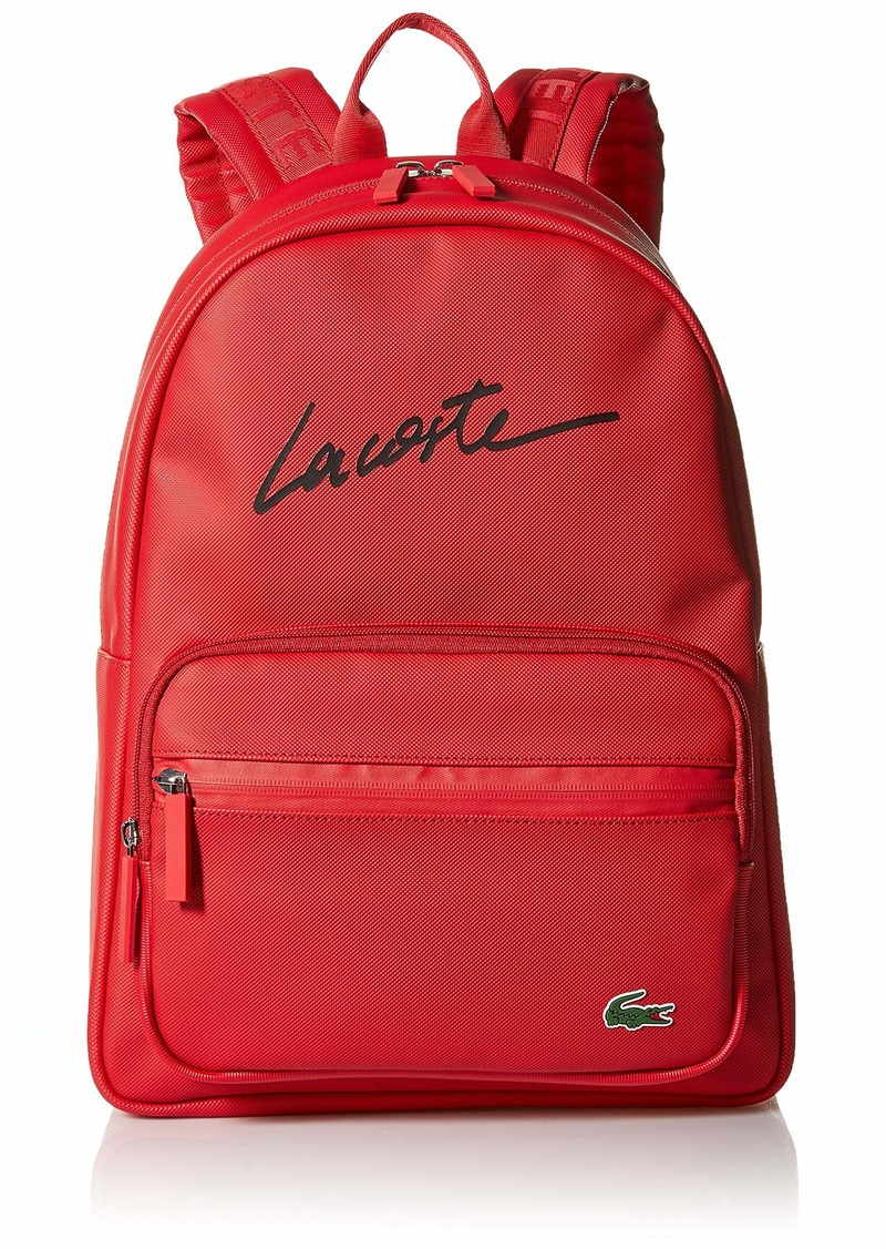 Lacoste Men's L1212 Concept Lettering Backpack tango red
