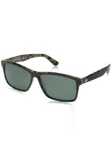 ddcb4de87 Lacoste Men's L705sp Polarized Rectangular Sunglasses MILITARY  GREEN/CAMOUFLAGE 57 mm