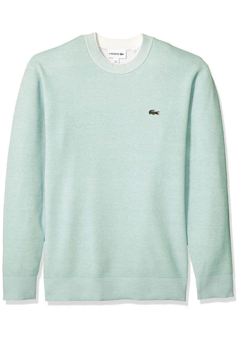Lacoste Men's Long Sleeve BI-Colour Bird's Eye PIN Striped Sweater ASPERA/Flour