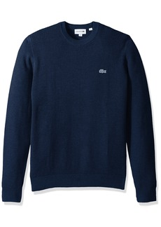 Lacoste Men's Long Sleeve Blue Pack Crew Neck Waffle Stitch Sweater INDIGOTIER